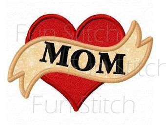 Mom love heart applique machine embroidery design