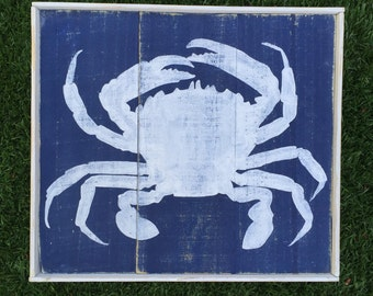 Crab wood sign with frame