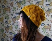 The Lilly in Mustard // Hand Knit Thick Cable Stitch Slouch Bean