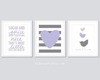Modern Nursery Art Prints - Sugar and Spice Art Print - Heart and Stripes Art Print - Birds Art Print - Lilac Light Grey and Slate Grey