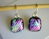 Purple Pink Earrings Dichroic Glass Jewelry Petite Purple and Silver Fused Glass Jewelry Dichroic Earrings Color Shifting Glass Sparkle