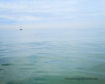 Sailboat Print, Nautical Touches, Ocean Artwork, Seaside Tones, Cottage Decor, Coastal Wall Art, Beach Cottage Art, Tranquility, Calm Seas