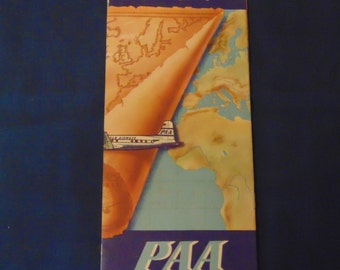 Vintage Pan American World Airways Route Maps
