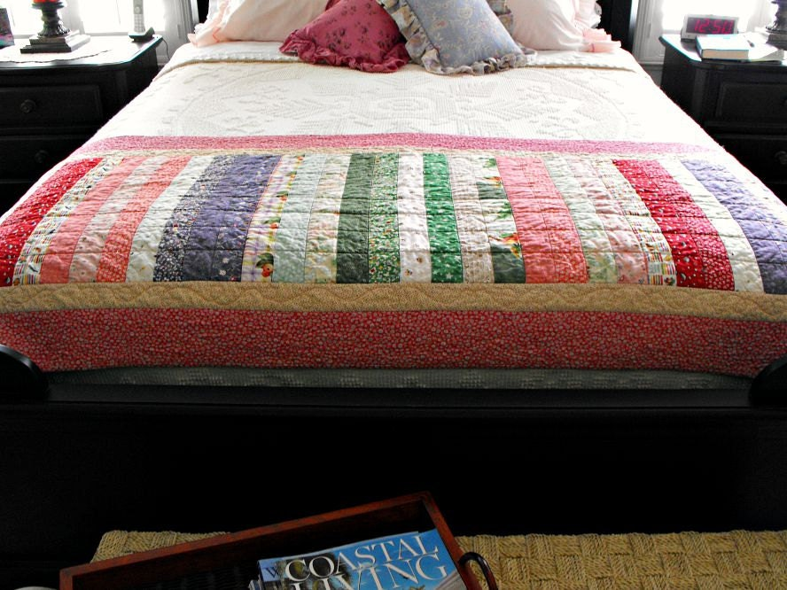 handmade quilted bed runner queen or king size bed by bobann23. Black Bedroom Furniture Sets. Home Design Ideas