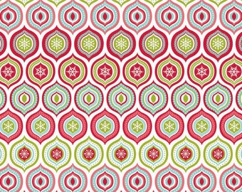 Red Green and Aqua Geometric Ogee Flannel, Merry Matryoshka by Carly Griffith for Riley Blake, Ogee Print in Multi, 1 Yard