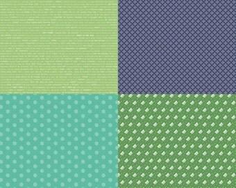 Green Modern Fat Quarter Panel Modern Minis by Lori Holt for Riley Blake Designs  1 Yard