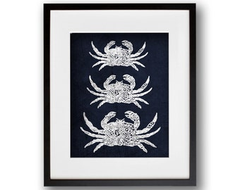 Tribal Crabs 8x10 or 11x14 Graphic Print Indigo Blue BOHO ART