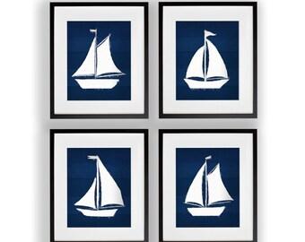 Set of 4 Painted Sailboat Prints 8x10 or 11x14 Nautical Wall Art
