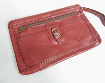 Oxblood Red Leather Wristlet Clutch with Buckle Accents