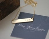 Double Sided Gold Bar Necklace - 14k Gold Fill - Thick - Hand Stamped Jewelry - Layering Necklace by Betsy Farmer Designs