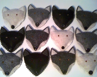 Wolf Pack 4 Felt Wolf Ornaments