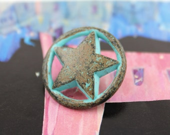 Metal Buttons - Star and Ring Green Rust Metal Shank Buttons - 0.79 inch - 6 pcs
