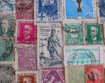The Stamps from Ipanema 50 Vintage Brasilian Postage Stamps Federative Republic of Brazil Brasília South America Latin America Rio Sao Paulo