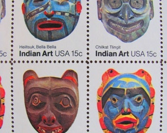Indian Art UNused Vintage US Postage Stamps Full Sheet of 40 15c 1980 Native American Masks Pacific Northwest Wedding Postage Save the Date