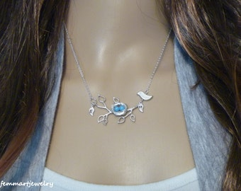 Bird Nest Necklace with initial leaves on a branch - Mom Necklace - Mothers Day Gift
