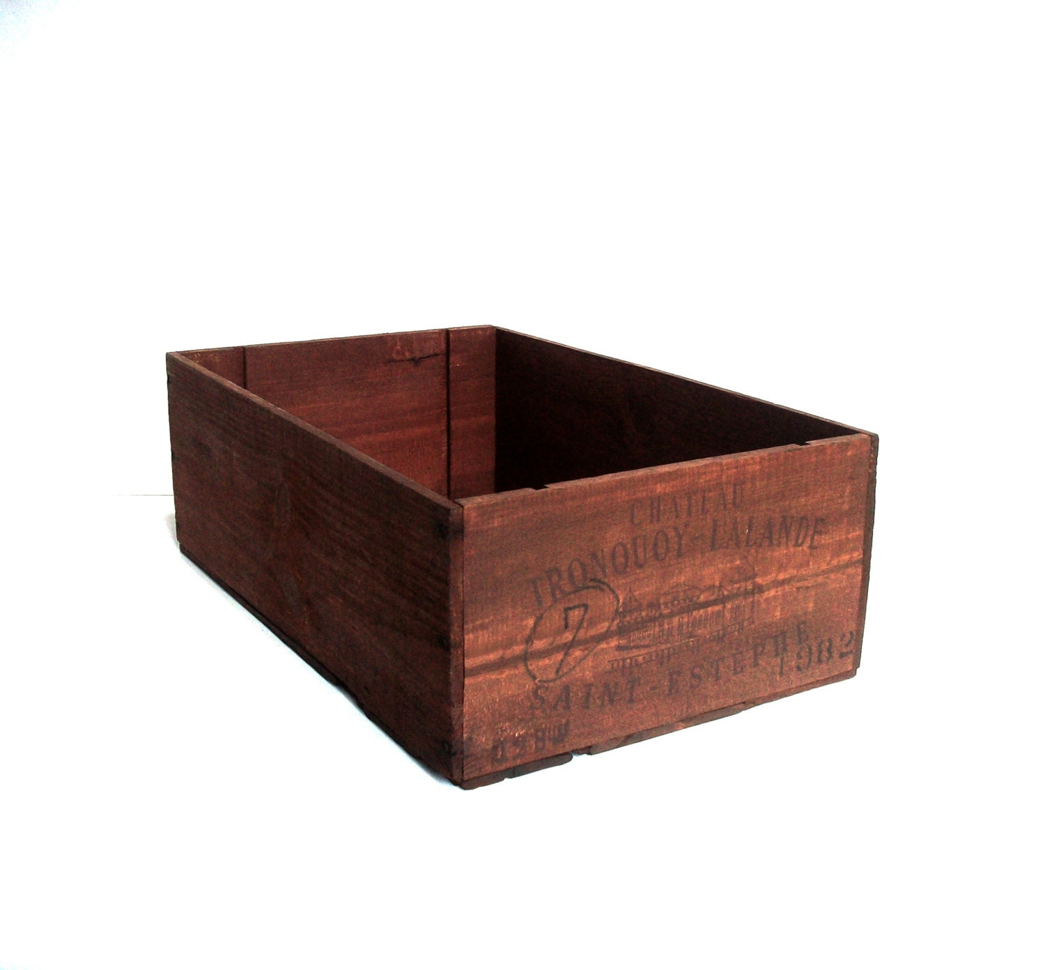Vintage wood wine crate wood wine box wine crate by for Timber wine box