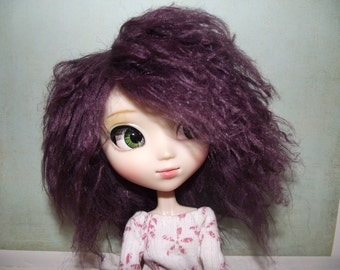 Dark purple plum wavy faux fur wig hair for Pullip/Taeyang