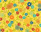 Salsa  Yellow Floral Cotton Quilt Fabric by the 1/2 yard