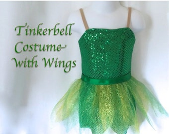 2T/3T Tinkerbell-inspired Fairy Costume Green sparkle with Leaf Skirt and Fairy Wings