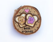 Peanutbutter and Jelly Woodslice Painting, Kawaii Peanutbutter and Jpelly, Mini Painting, Kawaii Magnet,Tiny Art, Best Friends, Birchslice