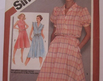 Misses Pullover Dress with Shawl Collar and Button Front Bodice Size 14 Bust 36 Vintage 1980's Simplicity Pattern 9867 UNCUT