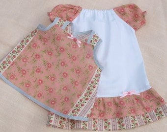 Waldorf Doll Clothes - Set of 2, Peasant dress and apron,fit 18-20 inch dolls