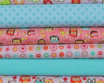 Happy Flappers Pink 6 Fat Quarter Bundle by Kelly Panacci for Riley Blake, 1 1/2 yards total