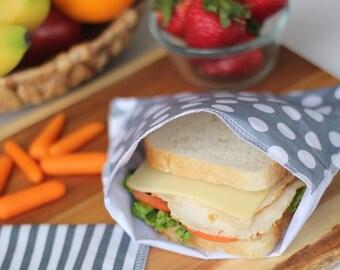 Reusable Ecofriendly Sandwich Bag and Snack Bag - Greys - set of 2 - FREE SHIPPING