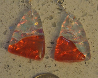 Irid Cranberry Fused Glass Earrings