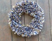 "Country Rag Wreath in Navy Blue, Burgundy, and Antique Tan, 15"" Primitive Rustic Collection, Handmade in NJ"