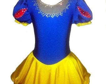Girls Disney inspired Snow White figure skating dress