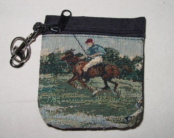 Polo Horse Tapestry  Belt Pack/Key Chain Combo,Polo Handbag
