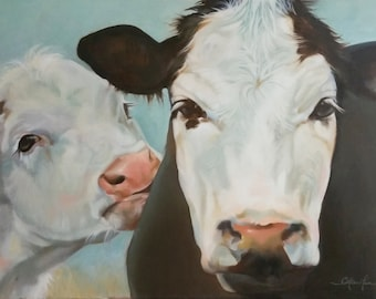 "Cow painting  ""Lily and Estelle"""