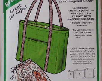 Green Pepper 882 Sewing Pattern For Market Tote and Produce Bags - Uncut