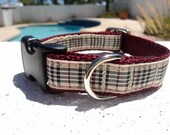 """Small Dog Collar Furberry Tartan 3/4"""" wide adjustable side release buckle / see 1"""" listing / No martingales"""