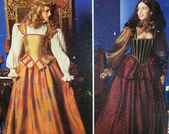 Elizabethan Costume Pattern, Medieval Dress,Fitted Bustier, Full Skirt, Full Sleeve Chemise, Simplicity 0630 9256 UNCUT Size 14 16 18 20