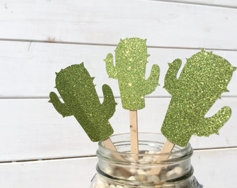 GLITTER CACTUS cupcake toppers, green cactus, cake topper, party supplies, party decoration, western party, birthday supplies, party