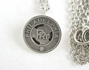 Philadelphia Pendant Necklace - Vintage Transit Token, Repurposed Coin