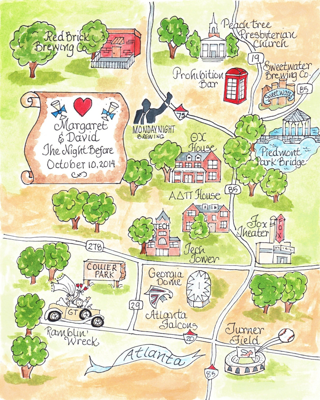 Custom Wedding Map Hand Drawn Wedding Map-Watercolor Map Of