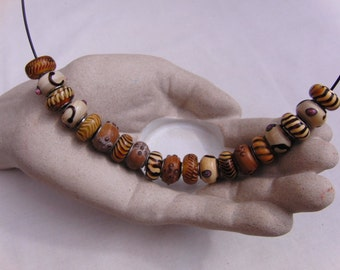 Shades of Brown European Lampwork Beaded Necklace, Jewellery, Accessories, Gift, Birthday, Christmas, Anniversary, Gift for Friend, Handmade