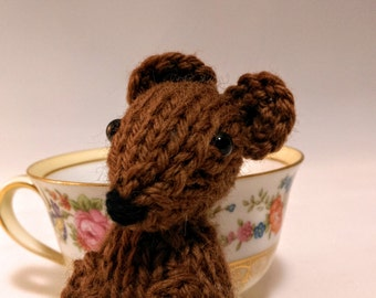 Hand Knit Brown Mouse Ready To Ship
