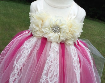 Fuschia and ivory lace tulle flower girl dress, girls fuschia tulle dress, girls ivory fuschia and lace dress, fuschia wedding