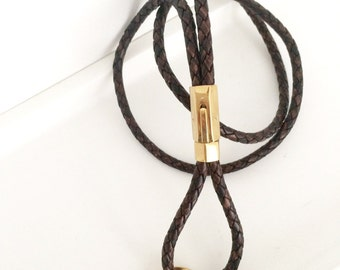 Lanyard keychain leather braided brown detachable gold or silver