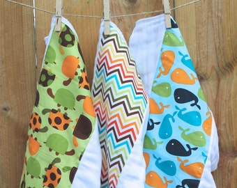 Boys Burp Rags Turtles and Whales 3-pack Cloth Diaper Set