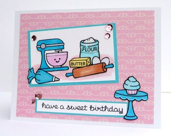 Happy Birthday Greeting Card - Have a Sweet Birthday for her - Handmade Paper Card