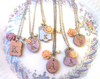 Provence Bridesmaids Necklaces, Lavender, Wisteria and peach, Rustic Chic Wedding , Silver Bridesmaids Jewelry Set of 6, custom color