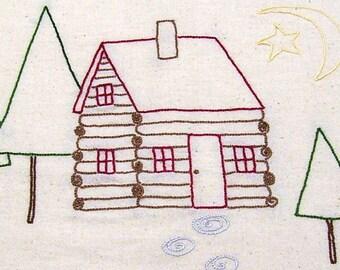 Dish Towel - Tea Towel - Kitchen Towel - Log Cabin - Pine Trees - Moon and Stars - Hand Embroidered Flour Sack