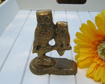 Solid Brass Owls - Paperweight - Owlet Bird Branch - Oak Hill Vintage