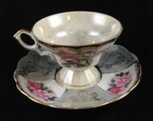 Iridescent Cup and Saucer Pink Roses Green and White Panels Made in Japan