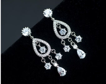 Bridal Earrings, Chandelier Bridal  Earrings, Cubic Zirconia Chandelier Bridal Earrings, CZ Stud Chandelier Bridal Earrings